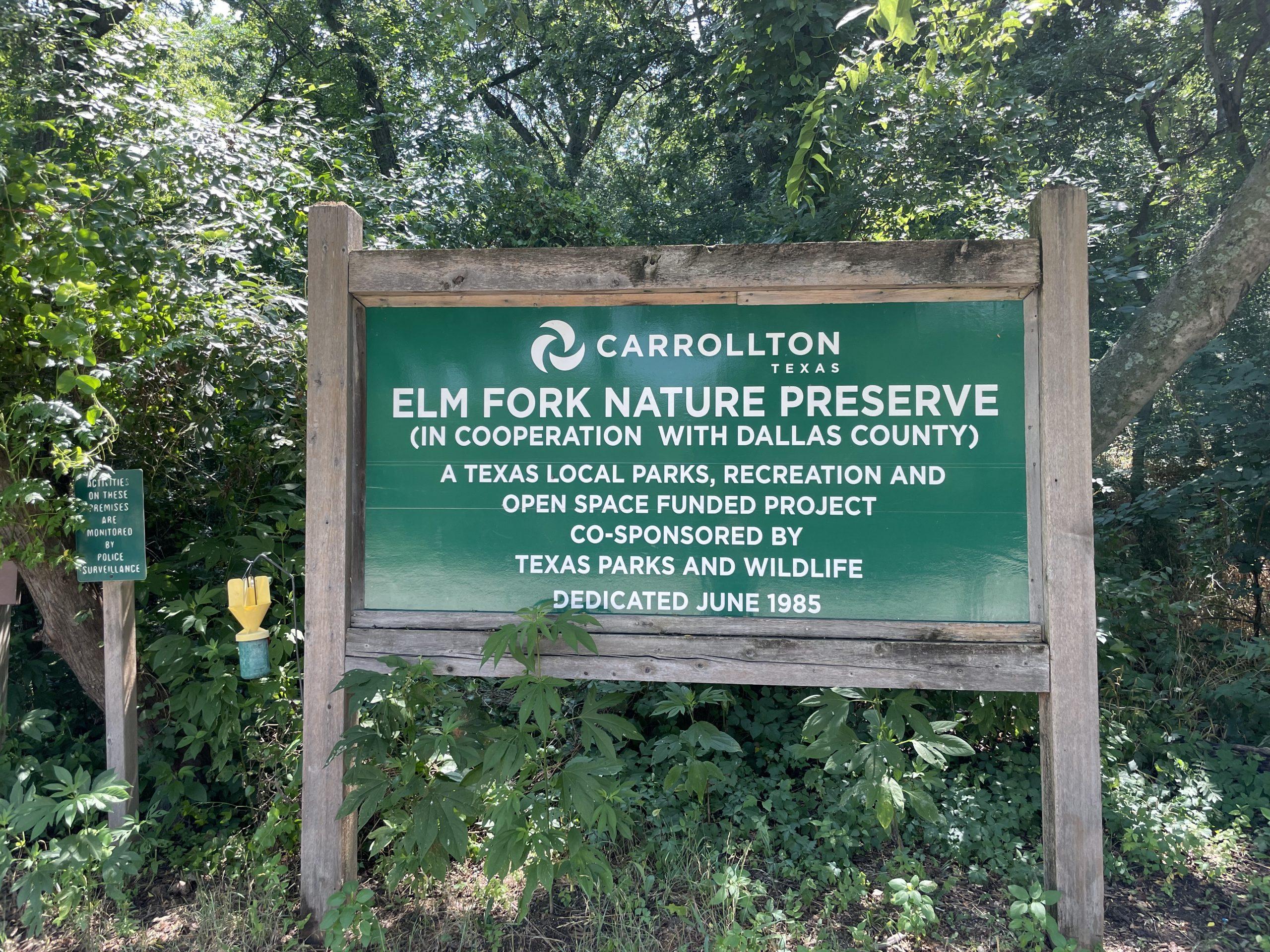Elm fork nature preserve entrance sign hiking north texas trails